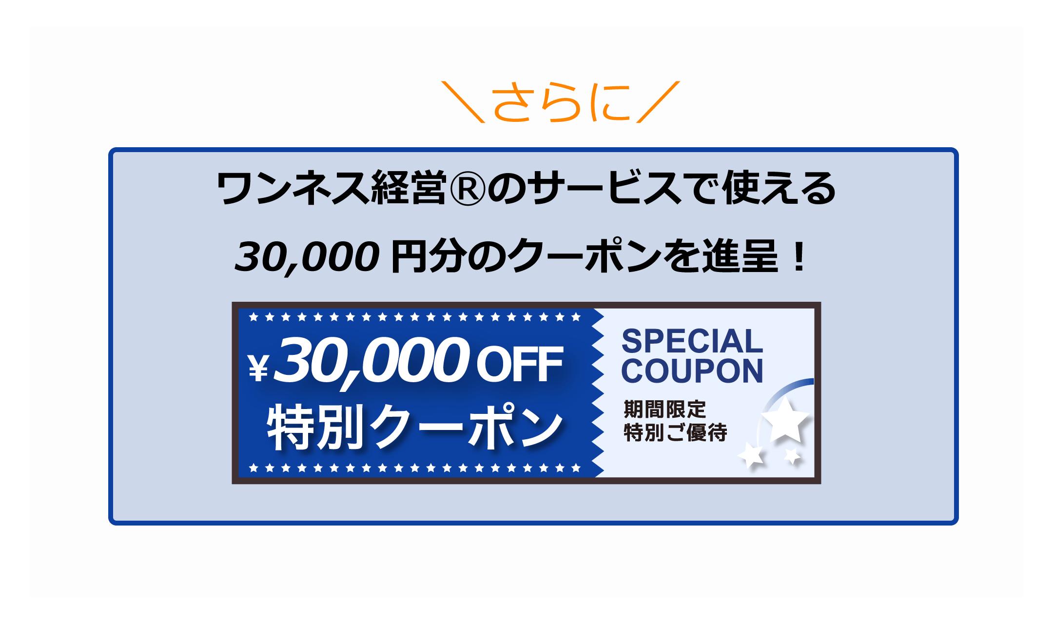 ワンネス経営®のサービスで使える30000円分のクーポンをプレゼント!